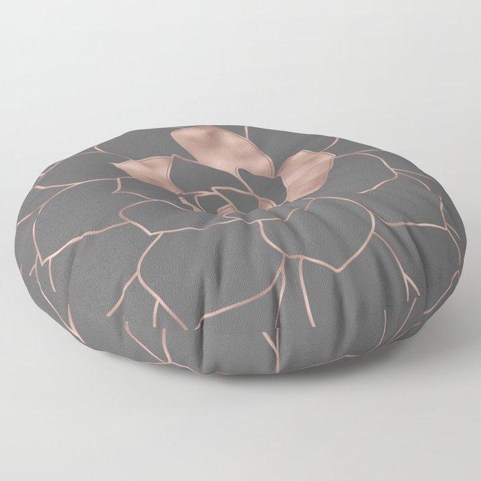 Rosegold  blossom on grey - Pink metal - effect flower Floor Pillow