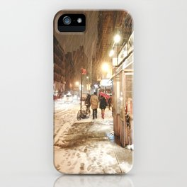 New York City - Snow at Night - Ludlow Street iPhone Case