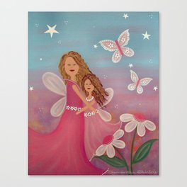 Always & Forever - Mother Daughter Angels Kids Art Canvas Print