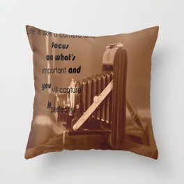 Life Is Like A Camera Lens Throw Pillow