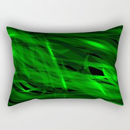 Saturated green and smooth sparkling lines of grass tapes on the theme of space and abstraction. Rectangular Pillow