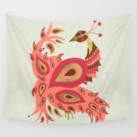 rose gold Wall Tapestries featuring Peacock – Rose & Gold by Cat Coquillette