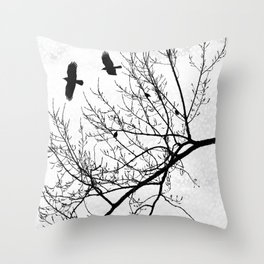 Black and White Graphic Birds and Tree Branches Throw Pillow