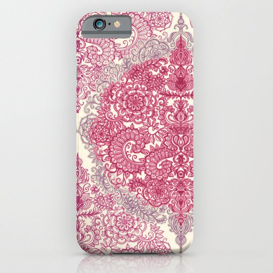 Happy Place Doodle in Berry Pink, Cream & Mauve iPhone & iPod Case