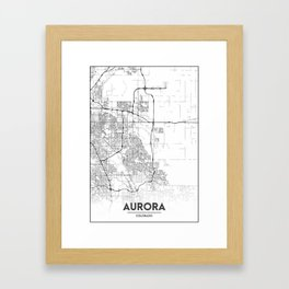 Minimal City Maps - Map Of Aurora, Colorado, United States Framed Art Print