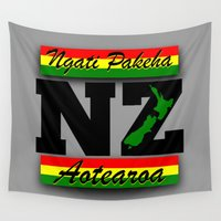 new zealand Wall Tapestries featuring New Zealand  by mailboxdisco