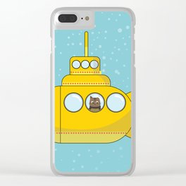 Yellow submarine with a cat and bubbles Clear iPhone Case