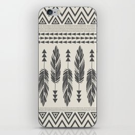 Tribal Feathers-Black & Cream iPhone Skin