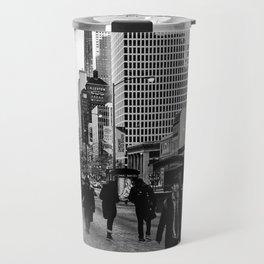 Street black and white Travel Mug