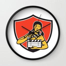 Asian Woman Movie Clapper Shield Retro Wall Clock