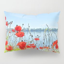 Red poppies in the lakeshore Pillow Sham