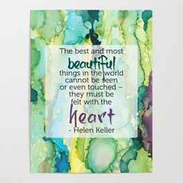 Inspirational Quote - Helen Keller - Alcohol Ink Poster