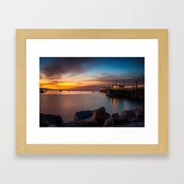 Here she comes again the sun rising at Port San Luis vila Beach Framed Art Print