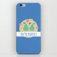 pun iPhone & iPod Skins featuring Pearfect Food Pun by Emily Babel