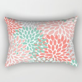 Floral Bloom, Coral and Mint Green, Art Prints Rectangular Pillow