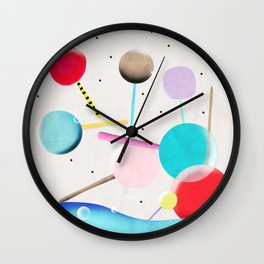 Lolli pop floating water waves and bubbles Wall Clock