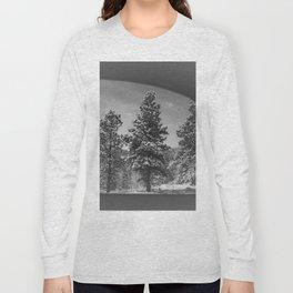 Snowy Pines Through the Explorers Window Long Sleeve T-shirt