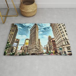 Flatiron Building NYC Landscape Painting by Jeanpaul Ferro Rug