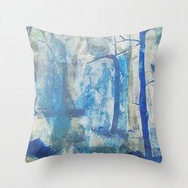 Blue Mist Forest Throw Pillow