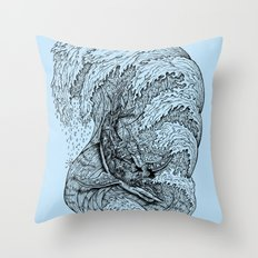 i only surf on SHARKS! Throw Pillow
