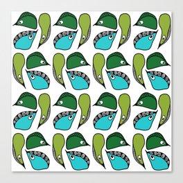 Green Dive-Plongeon vers- birds 2 Canvas Print