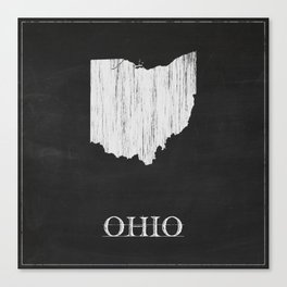 Ohio State Map Chalk Drawing Canvas Print