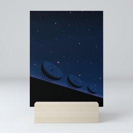 Radio telescopes in front of night sky Mini Art Print