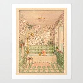 Bath in Green Art Print