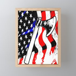 Firefighter American Flag Fire Ax Department Gift Framed Mini Art Print