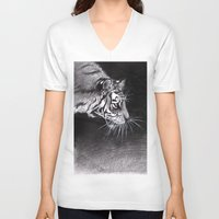 abyss V-neck T-shirts featuring Tiger Abyss by Terese W. Antonsen