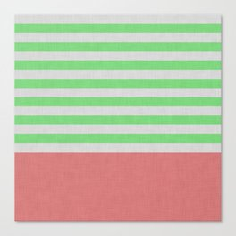 Green and orange stripes and color block Canvas Print
