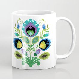 Polish Folk Art Print Teal Coffee Mug