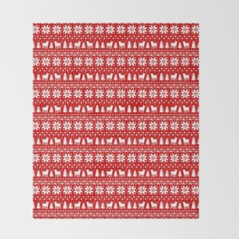 American Bulldog Silhouettes Christmas Sweater Pattern Throw Blanket