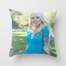 Girl Next Door Throw Pillow