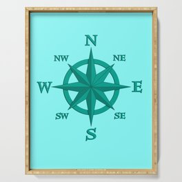 Eight Point Compass Rose, Turquoise and Aqua Serving Tray