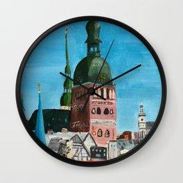 Vertical: Chimneys and Churches of Riga Wall Clock