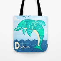 dolphin Tote Bags featuring Dolphin by Claire Lordon