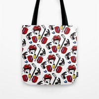 kit king Tote Bags featuring Hockey kit by Kana Aiysoublood