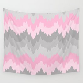 Pink Grey Gray Ombre Chevron Camo  Wall Tapestry