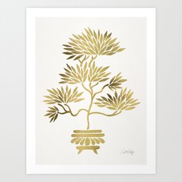 Bonsai Tree – Gold Palette Art Print