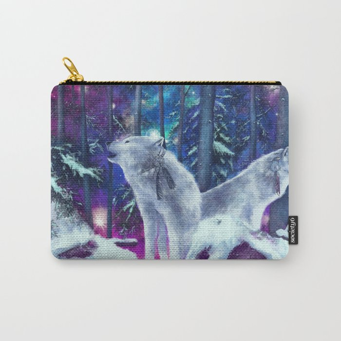 white wolf in the forest Carry-All Pouch