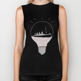 Ship in a light bulb. Home decor Graphicdesign Biker Tank