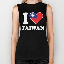 I Love Taiwan Taiwanese Flag Heart Biker Tank