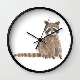 baby raccoon watercolor Wall Clock