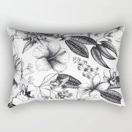 Black and White Vintage Tropical Flowers Pattern Rectangular Pillow