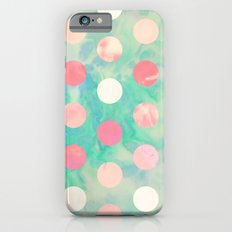 Retro Pink Polka Dots Hipster Turquoise Pattern iPhone 6 Slim Case