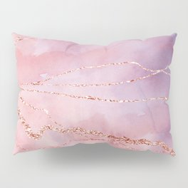 Blush and Purple Sky with Rose gold flashes Pillow Sham