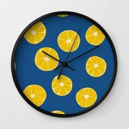 Blue Summer Lemons Wall Clock