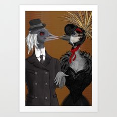 Demoiselle Crane and Grey Crowned Crane Art Print