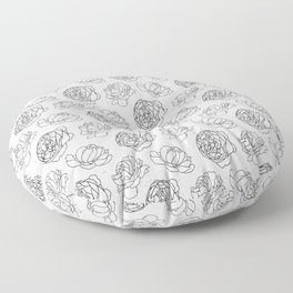 Black And White Peony Pattern Floor Pillow